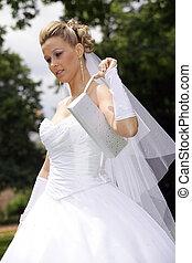 pretty young bride in white