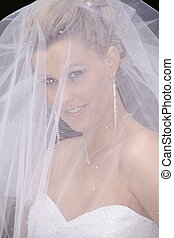 bride in white with veil