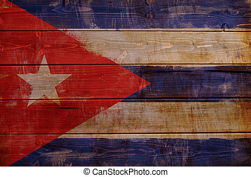 Cuba flag painted on wood aces - Old Cuba flag painted on...