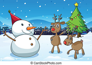 A snowman and the reindeers near the christmas tree