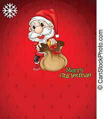 Santa with a brown bag full of gifts - Illustration of Santa...
