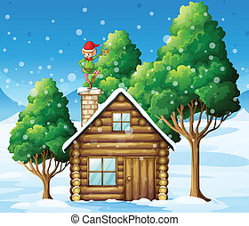 A wooden house with an elf at the top