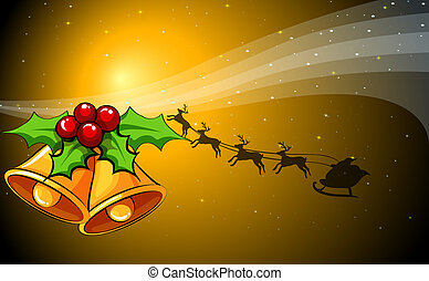 A christmas card with bells and a sleigh with reindeers -...