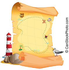 A treasure map near the lighthouse - Illustration of a...
