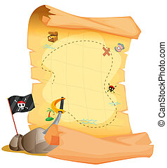A treasure map beside the flag and the sword - Illustration...