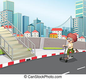A boy skateboarding at the street - Illustration of a boy...
