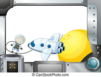 A metal frame border with an airplane and an astronaut