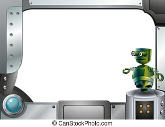 A metal frame border with a robot - Illustration of a metal...