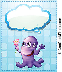 A violet monster with an empty callout - Illustration of a...
