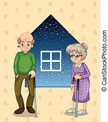 A grandfather and a grandmother - Illustration of a...