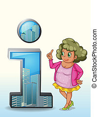 A woman beside a number one symbol with buildings -...