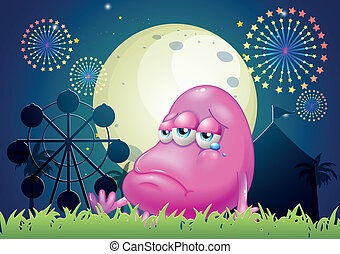A problematic pink monster near the carnival - Illustration...