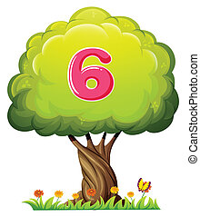 A tree with a number six figure - Illustration of a tree...