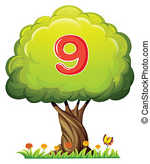 A tree with a number nine figure - Illustration of a tree...