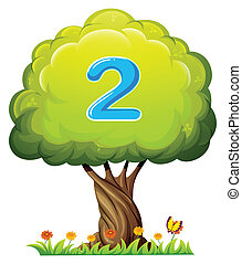 A tree with a number two figure - Illustration of a tree...