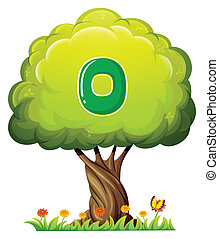 A tree with a number zero figure - Illustration of a tree...