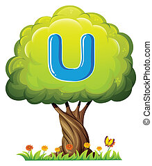 A tree with a letter U - Illustration of a tree with a...