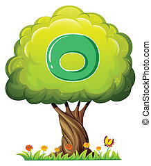 A tree with a letter O - Illustration of a tree with a...