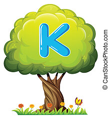 A tree with a letter K - Illustration of a tree with a...