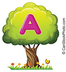 A tree with a letter A - Illustration of a tree with a...