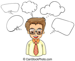 A smart man with empty callouts - Illustration of a smart...