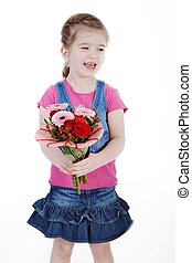 child girl with flower bouquet
