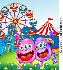 Two happy monsters near the carnival - Illustration of the...