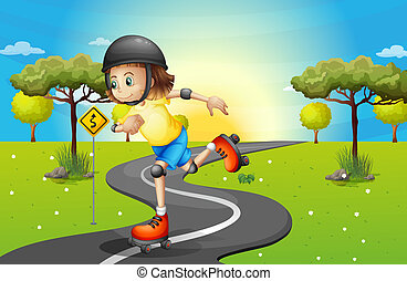 A girl rollerskating at the street - Illustration of a girl...