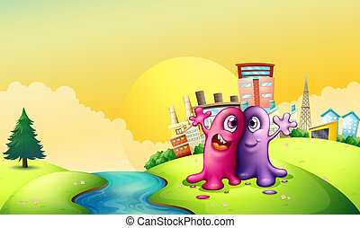 Two monsters at the riverbank near the tall factories