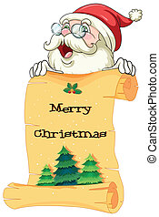 An old Santa holding a paper scroll with christmas greeting...
