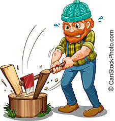 A tired lumberjack - Illustration of a tired lumberjack on a...