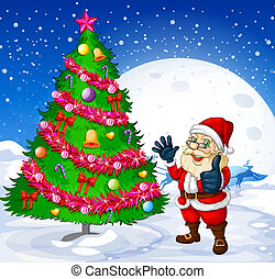 A smiling santa beside the giant christmas tree -...