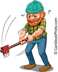 A tired lumberjack with an axe - Illustration of a tired...