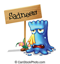 A very sad blue monster crying near a wooden signage