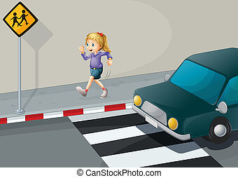 A girl running at the streetside - Illustration of a girl...