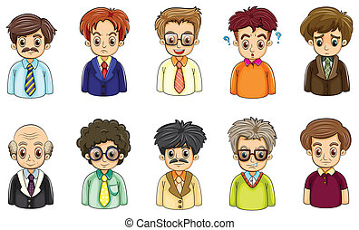 Different faces of businessmen - Illustration of the...