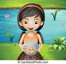 A smiling young girl holding an aquarium - Illustration of a...