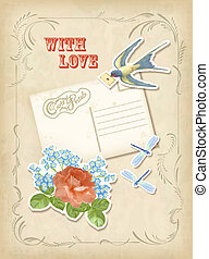 Vintage scrapbook element retro card love design