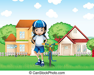 A smiling girl and her bike near the big houses -...