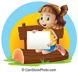 A girl above a log holding an empty signage