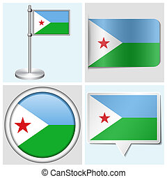 Djibouti flag - set of various sticker, button, label and...