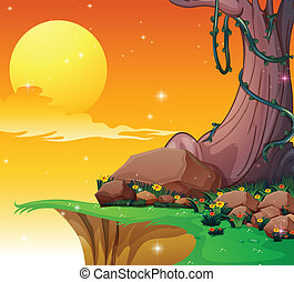 A big tree near the cliff - Illustration of a big tree near...