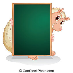 An animal at the back of an empty blackboard