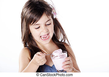 girl eats yoghurt