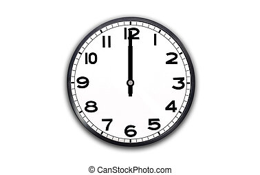 12 o'clock - a black and white clock showing one hour