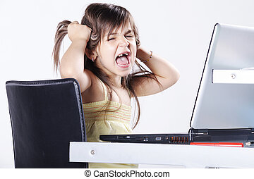 girl screaming at laptop