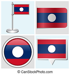 Laos flag - set of various sticker, button, label and flagstaff