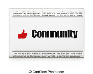 Social network news concept: newspaper with Community and...