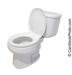 toaleta, biały, ceramiczny, odizolowany, tło