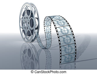 Movie reel - Illustration of a movie reel and film on a...